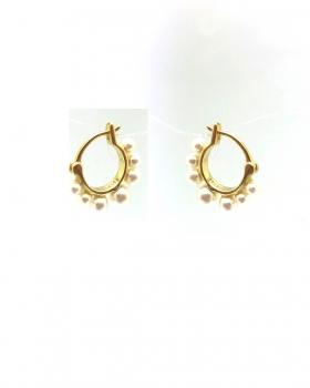 orecchino cerchio perle in argento 925 bagnato in oro giallo