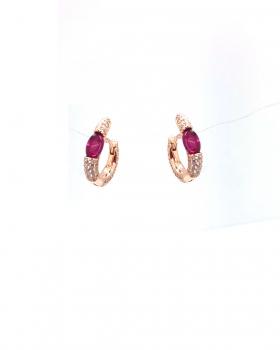 orecchino mini cerchio con pavè di zirconi e con pietra cabochon colo rubino tutto in argento 925 bagnato in oro rosa