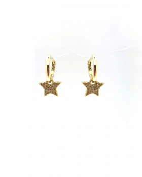 orecchino cerchio liscio con stella pendente con zirconi in argento 925 bagnato in oro giallo