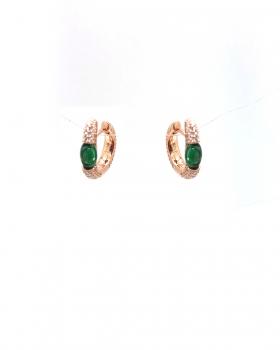 orecchino mini cerchio con pavè di zirconi e con pietra cabochon colo smeraldo tutto in argento 925 bagnato in oro rosa